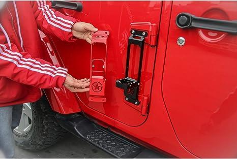 RT-TCZ Door Hinge Step Foot Peg Folding Foot Pedal Easy Access to Car Rooftop for 2007-2018 Jeep Wrangler JK JKU JL JLU 2 Pack, Black
