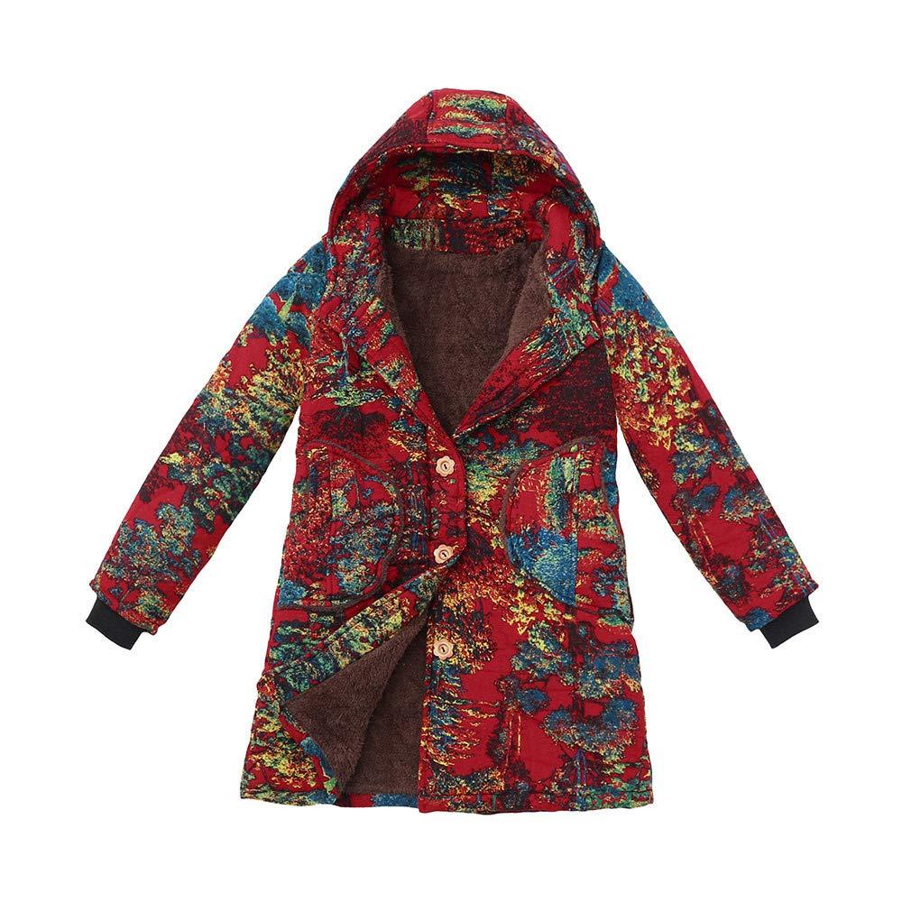 Red XLarge Womens Vintage Outwear Hoodies Jacket Coats,Winter Warm Floral Print Hooded Pockets Button Oversize Overcoat Wokasun.JJ