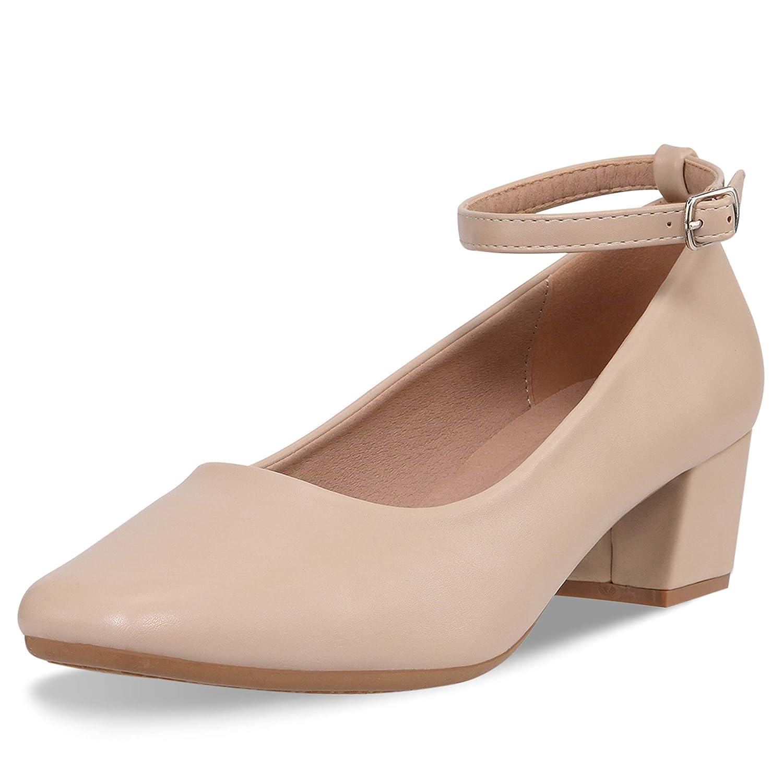 b7474473c795 Amazon.com   CINAK Low Heel Chunky Heels Dress Shoes for Women- Comfortable  Ankle Strap Pumps Square Toe Ladies Mary Jane   Pumps