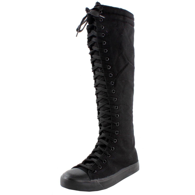 New Fasion Women Canvas Sneakers Punk flat Skatter Knee High Lace up Shoes (7;5, Graffiti) B0126GA30M 7;5|Black