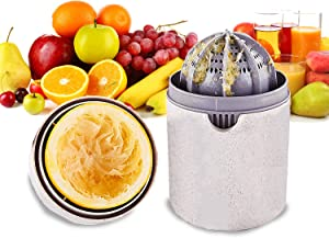 Pazezog Mini Hand Juicer, Citrus Orange Squeezer Manual Lid Rotation Press Juicing Cup for Lemon Lime Grapefruit with Strainer & Container, 2 Modes to Squeeze Juice