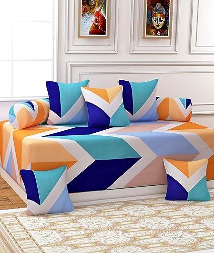 Gurnoor 3 D Printed Zig Zag Diwan Set(Set of 8)(Multicolor)