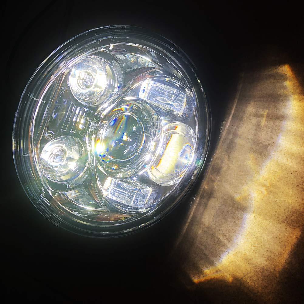 EBTOOLS Faro per motocicletta faro nero faro universale da 5,75 pollici//14,5 cm per moto refit tondo a LED alloggiamento nero