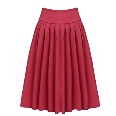 ACEVOG Women's Elastic High Waist Chiffon Bowknot Pleated A-line Flare Midi Skirt at Women's Clothing store