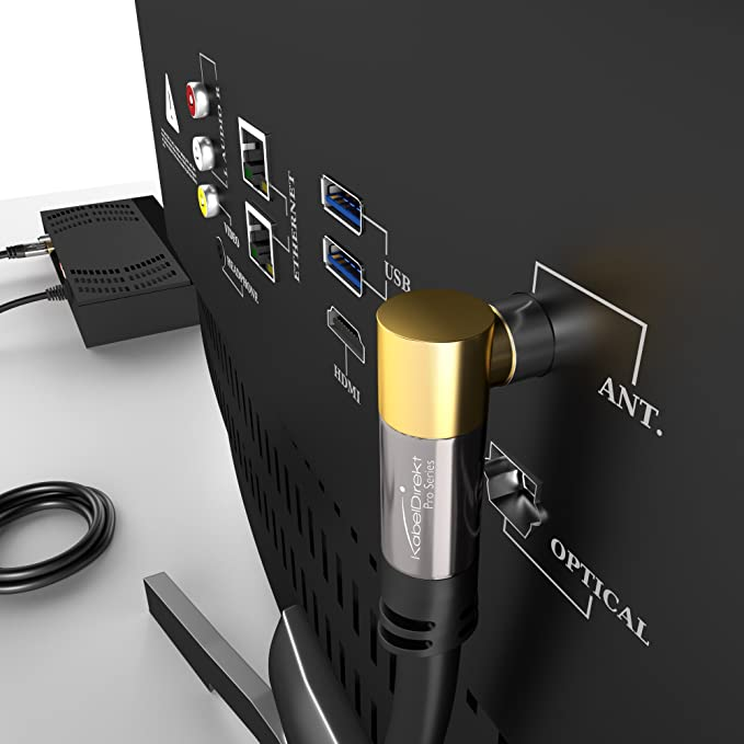 KabelDirekt – 3m Cable de Antena TV (75 Ohm, HDTV, Toma coaxial acodada 90°ma Conector coaxial Recto W, Cable coaxial, soporta HDTV, DVB-T2, DVB-C, ...