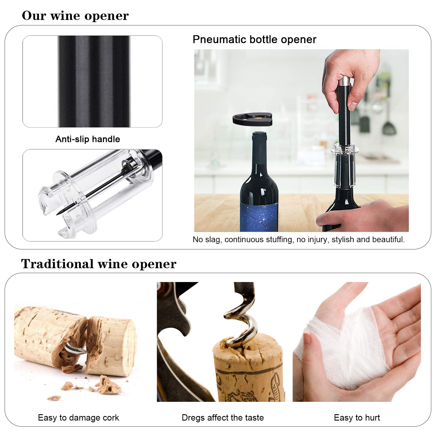 Wine Opener Set 4 Pcs, Wine Tool Set with Wine Bottle Opener Wine Pourer Foil Cutter and Vacuum Stopper, Wine Accessories Gifts for Man & Woman