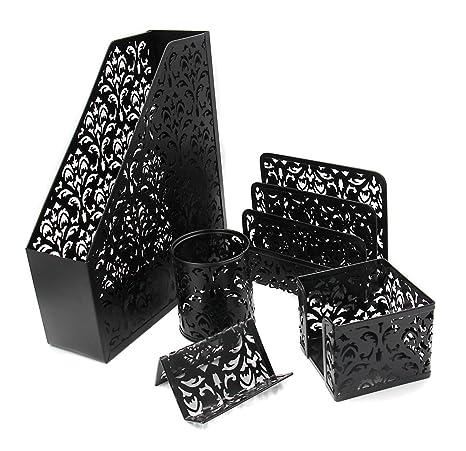 Amazon easypag 5 in 1 desk organizer set hollow flower pattern easypag 5 in 1 desk organizer set hollow flower pattern design file holderletter colourmoves
