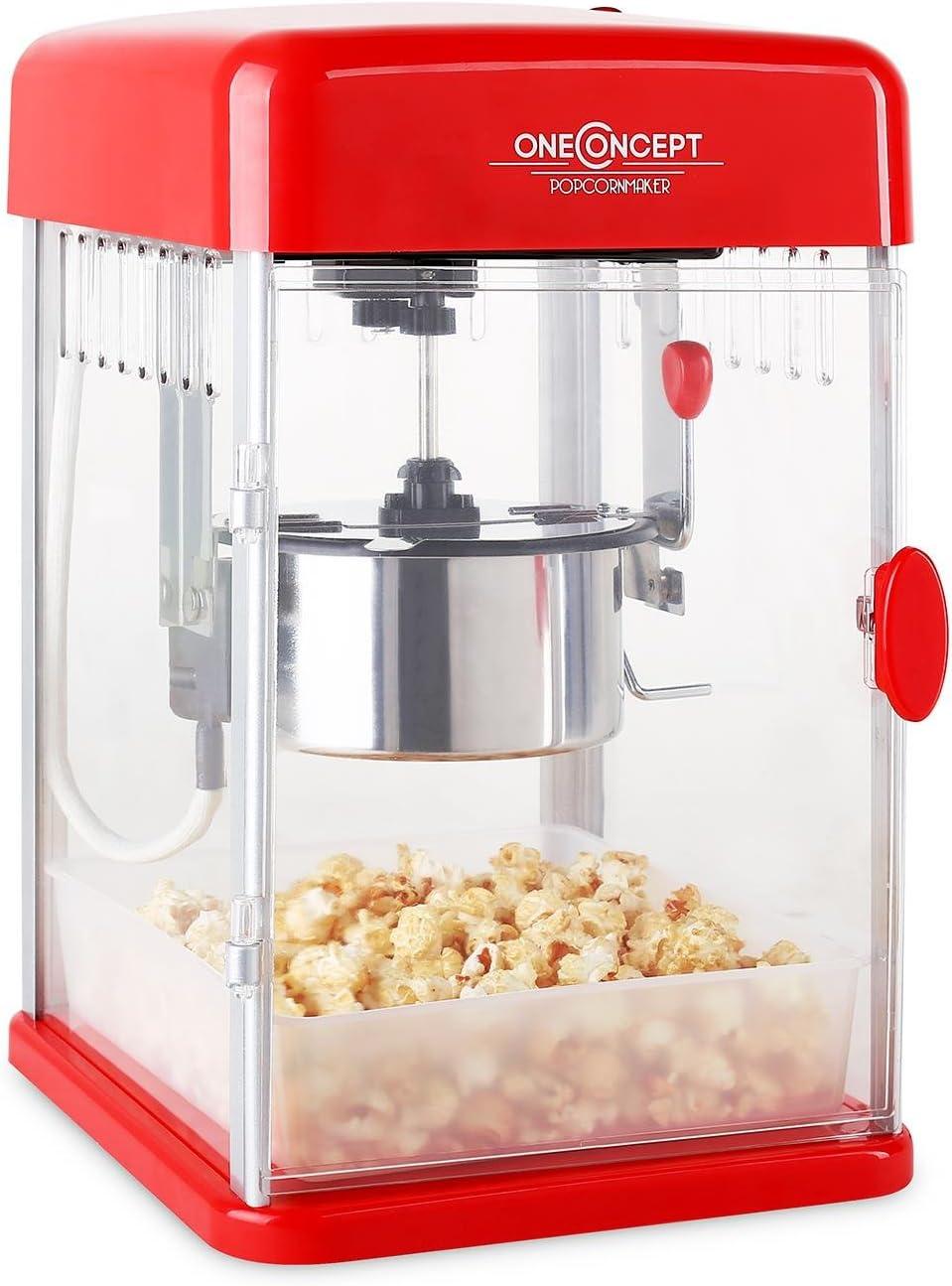 Klarstein Rockkorn - máquina de palomitas de maíz, retro, palomitero, 350 W, extraíble, iluminación interior, aprox. 60 l/h, puerta con cerradura magnética, cuchara dosificadora, Rojo: Amazon.es: Hogar