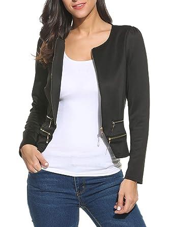 0030d2448f8 Pinspark Women s Work Office Blazer Solid Zipper Cardigan Jacket at ...