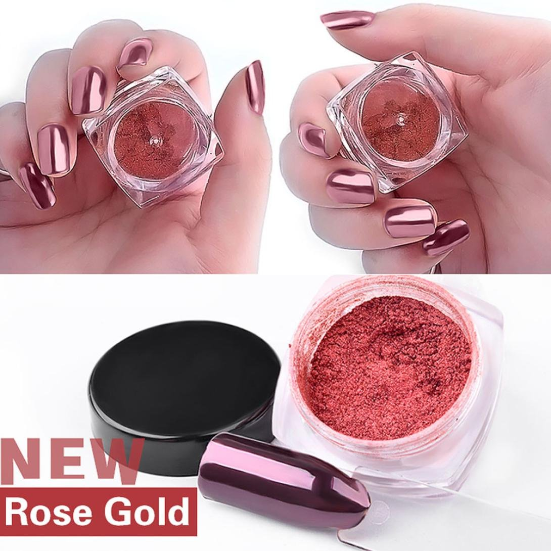 Kemilove 2g/Box Gold Sliver Nail Glitter Powder Shinning Nail Mirror Powder (Rose Gold)