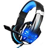 BlueFire 3.5mm Gaming Headset for Playstation 4 PS4 Xbox One Games Tablet PC, Over Ear Headphone with Mic LED Light for Laptop Mac Nintendo Switch Controller (Blue)