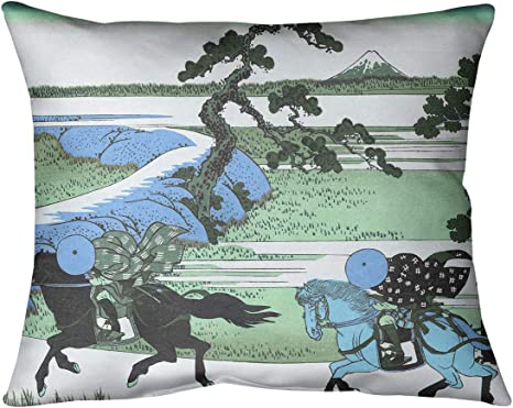 Amazon Com Artverse Katsushika Hokusai Sekiya Village At Sumida River In Green And Blue Pillow Spun Polyester 14 X 10 Home Kitchen