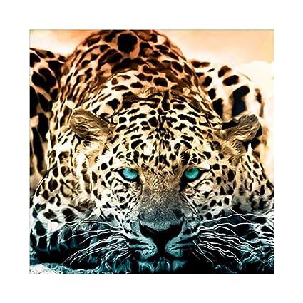 DIY Full Diamond Embroider The leopard Round Diamond Painting Cross Stitch Kits