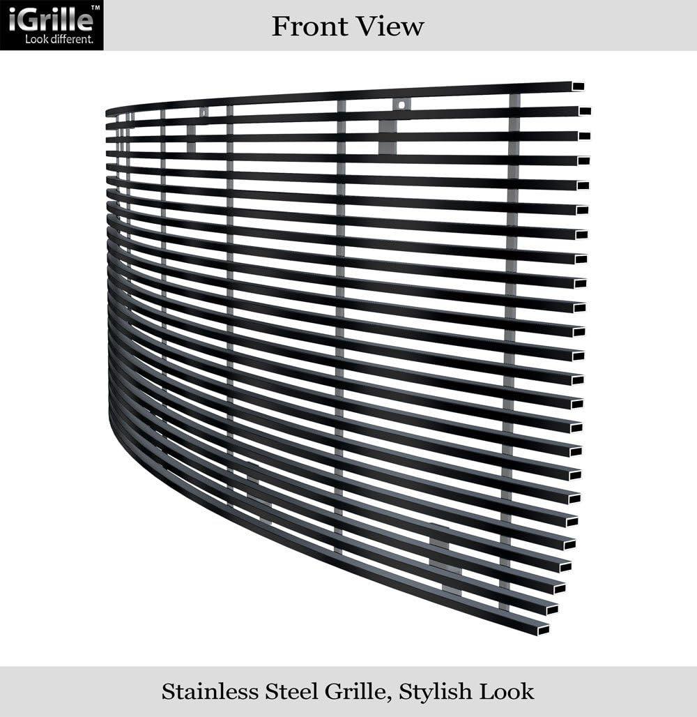 APS Premium Stainless Steel Black Horizontal Billet Grille Compatible with 2014-2015 GMC Sierra 1500 Main Upper N19-J37958G