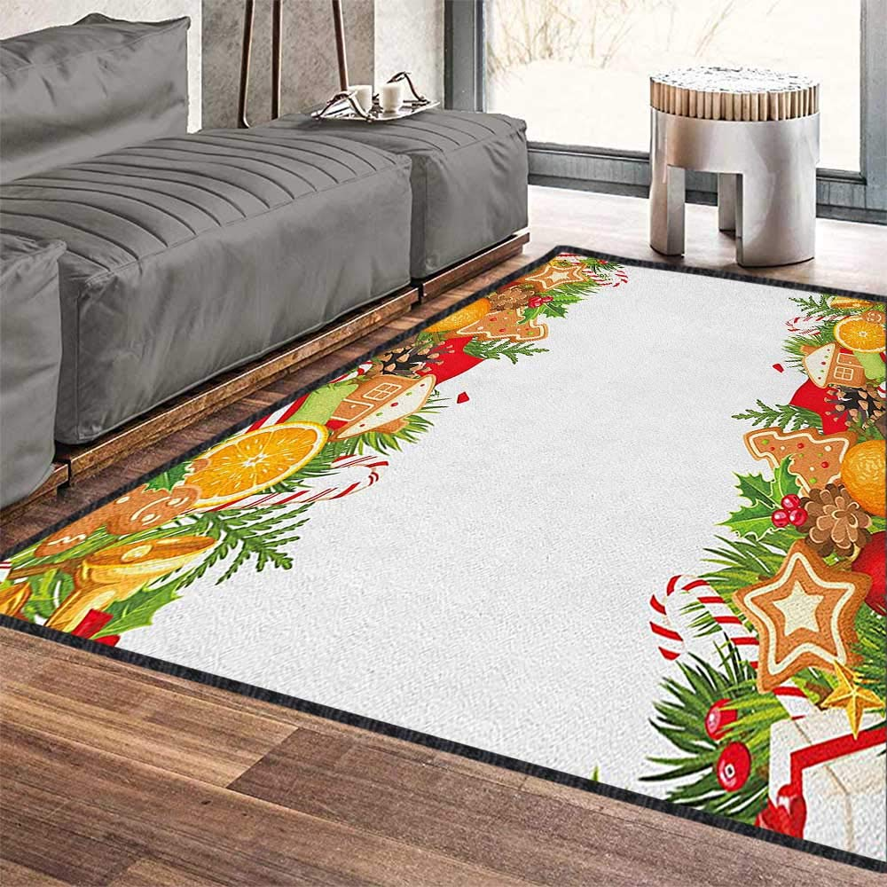 Christmas Decor Area Rug,Cute Sweet Composition Gingerbread Figures Oranges Leaves Lollipops Festive Print Machine Washable Multicolor 71''x110'' by Philip C. Williams