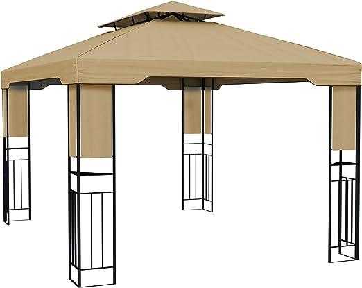 paramondo Deluxe Gazebo Pabellón de jardín Cenador Resistente al Agua, 4 x 3m, Beige: Amazon.es: Jardín