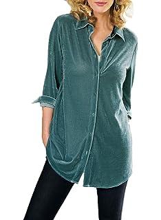 f4ae838c7c6 Azokoe Womens Velvet Button Down Tunic Long Sleeve V Neck Boyfriend Blouse  Shirts Tops