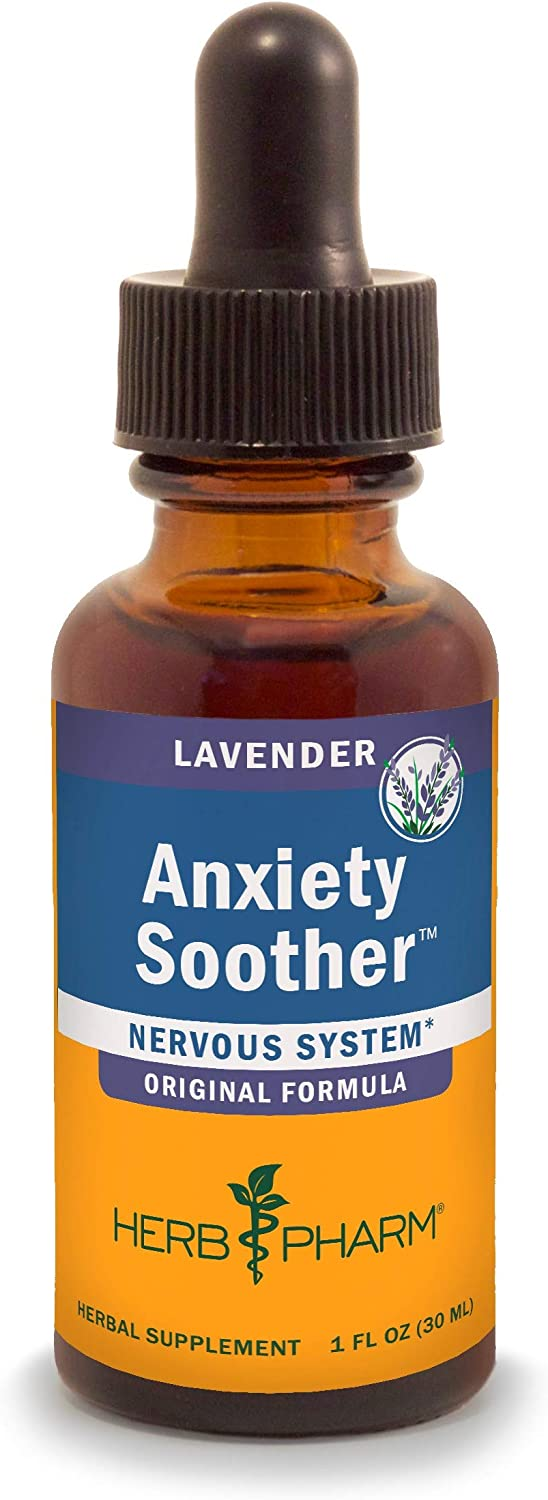 Herb Pharm Anxiety Soother Liquid Herbal Formula with Kava For Nervous System Support (Packaging May Vary), Lavender, 1 Ounce (FANXSTH01)
