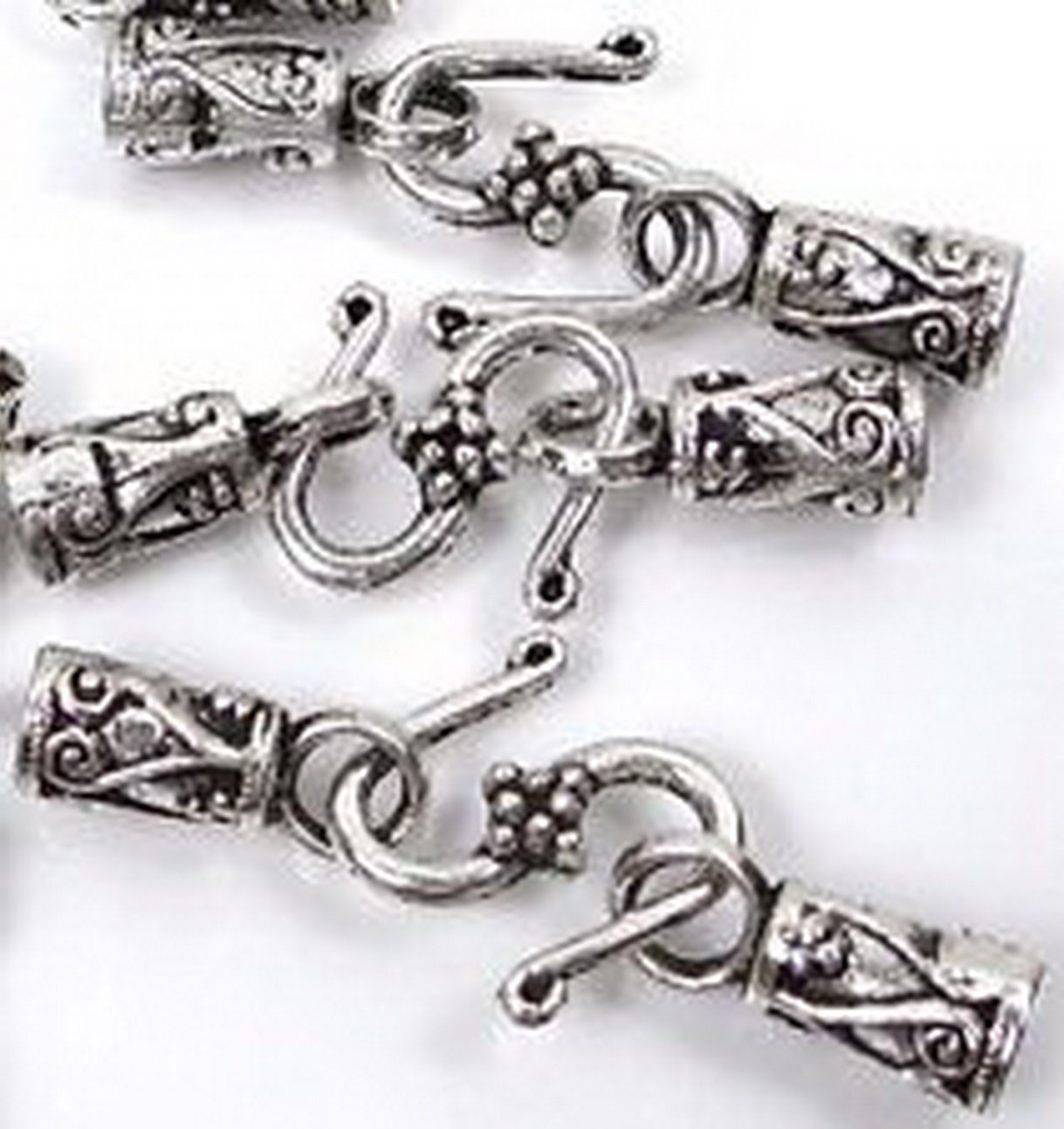 Burts Beads - 30pc Silver Pewter S Hook End Caps Leather Cord Lead-Free NJOY12922 4336828207