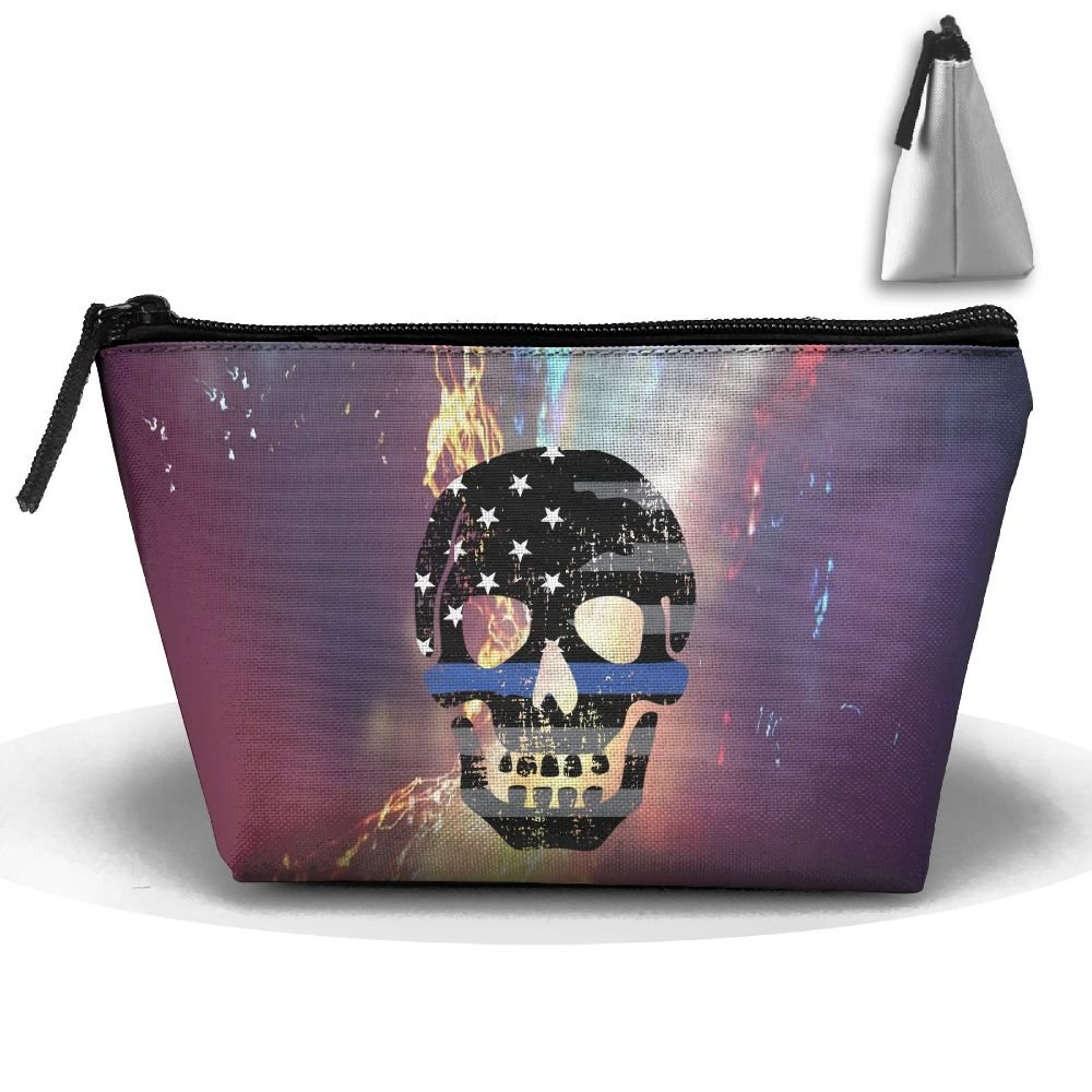 American Skull Thin Blue Line Flag Portable Make-up Storage Capacity Bags For Travel Hanging Zipper