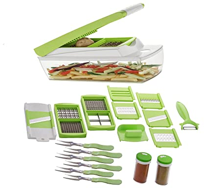 Buy Slings 20 in 1 Fruit & Vegetable Chopper, Slicer, Chipser, Dicer,  Cutter, Grater (6 Forks Spoons & 2 Spice Jar) Online at Low Prices in India  - Amazon.in