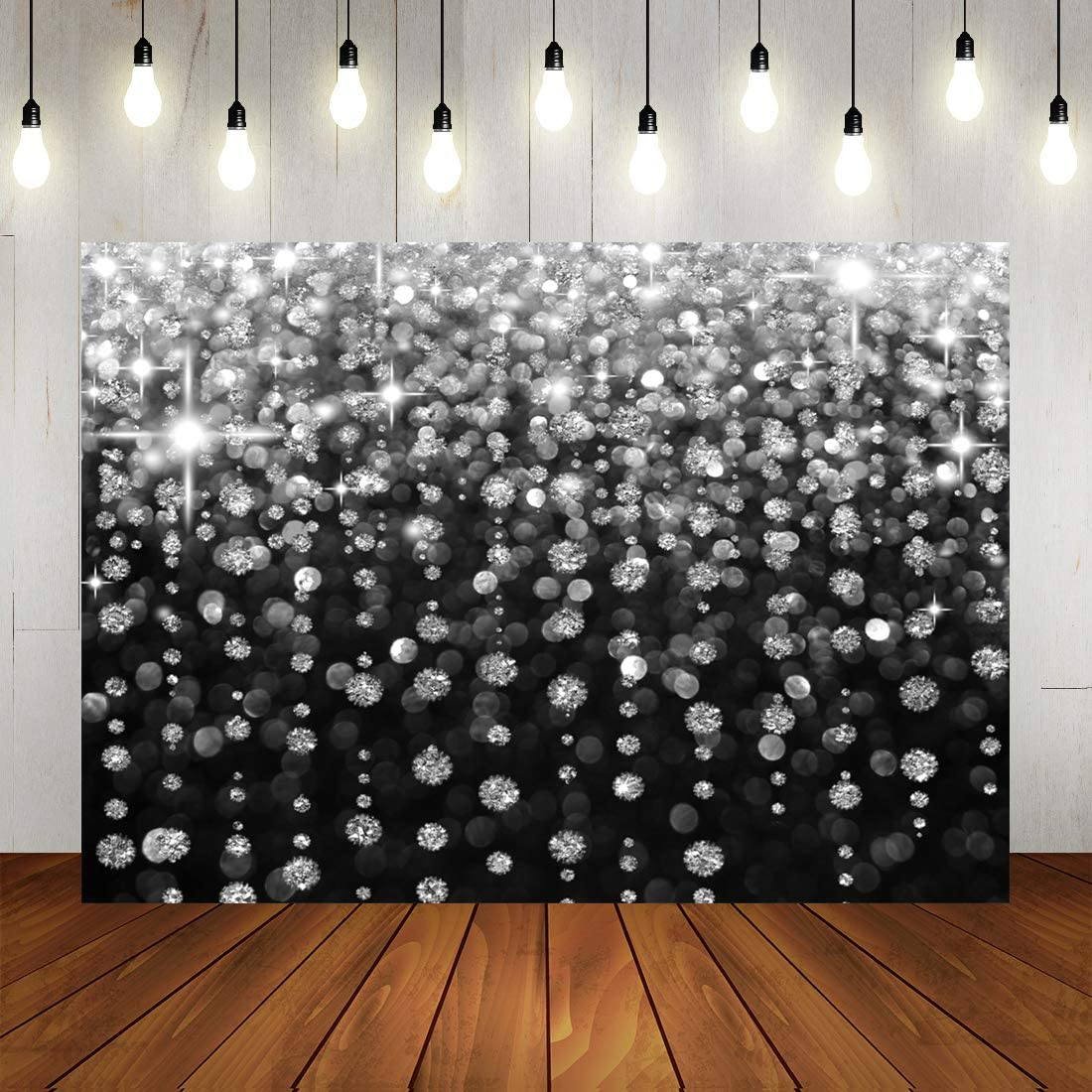Glitter Sliver Bokeh Black Photography Backdrop 7x5ft Selfie Birthday Party Background Vintage Astract Wedding Baby Shower Newborn Baby Party Decorations Banner Supplies