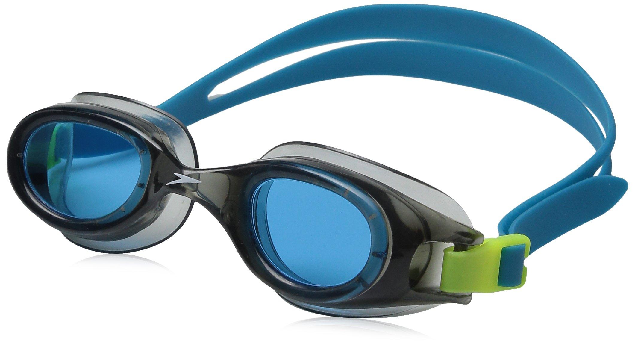 Speedo Jr. Hydrospex Classic Swim Goggles, No Leak, Anti-Fog, and Easy to Adjust with UV Protection, Grey/Blue, 1SZ