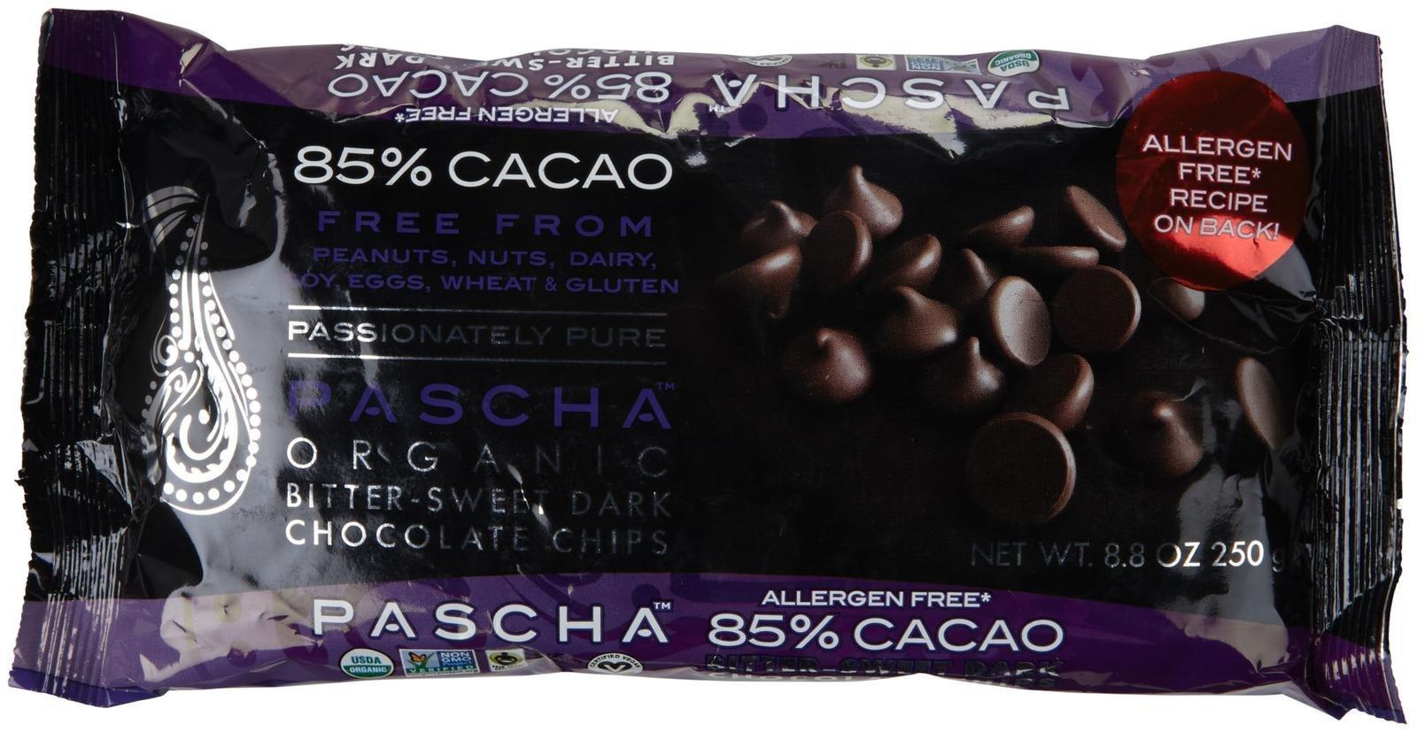 PASCHA Organic Dark Chocolate Baking Chips - 85% Cacao, Bitter-Sweet - 8.8 oz