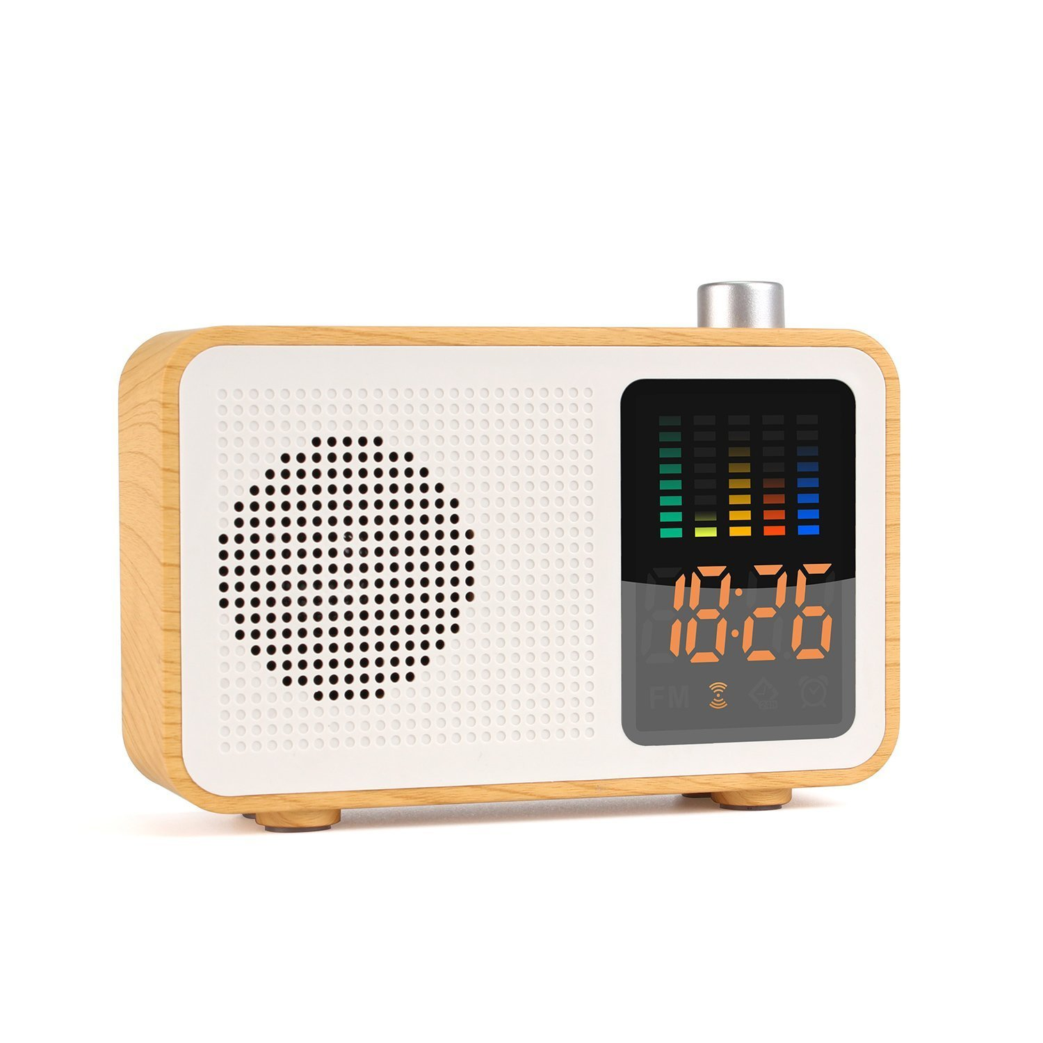 Sysmarts Wooden Retro Stereo Wireless Portable Bluetooth Speakers FM Radio Digital Alarm Clock Supported TF Card/AUX-in USB Charging (Maple Wood)