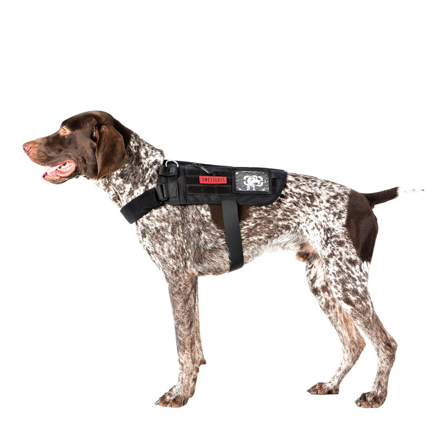 OneTigris Apollo 09 Tactical Dog Harness & Assistance Harness Compatible Vest & Dog Cape with Removable Neck Strap for Service Dog or Pet Dog (Black, Medium: Neck 16''-30''; Chest 17''-35'')