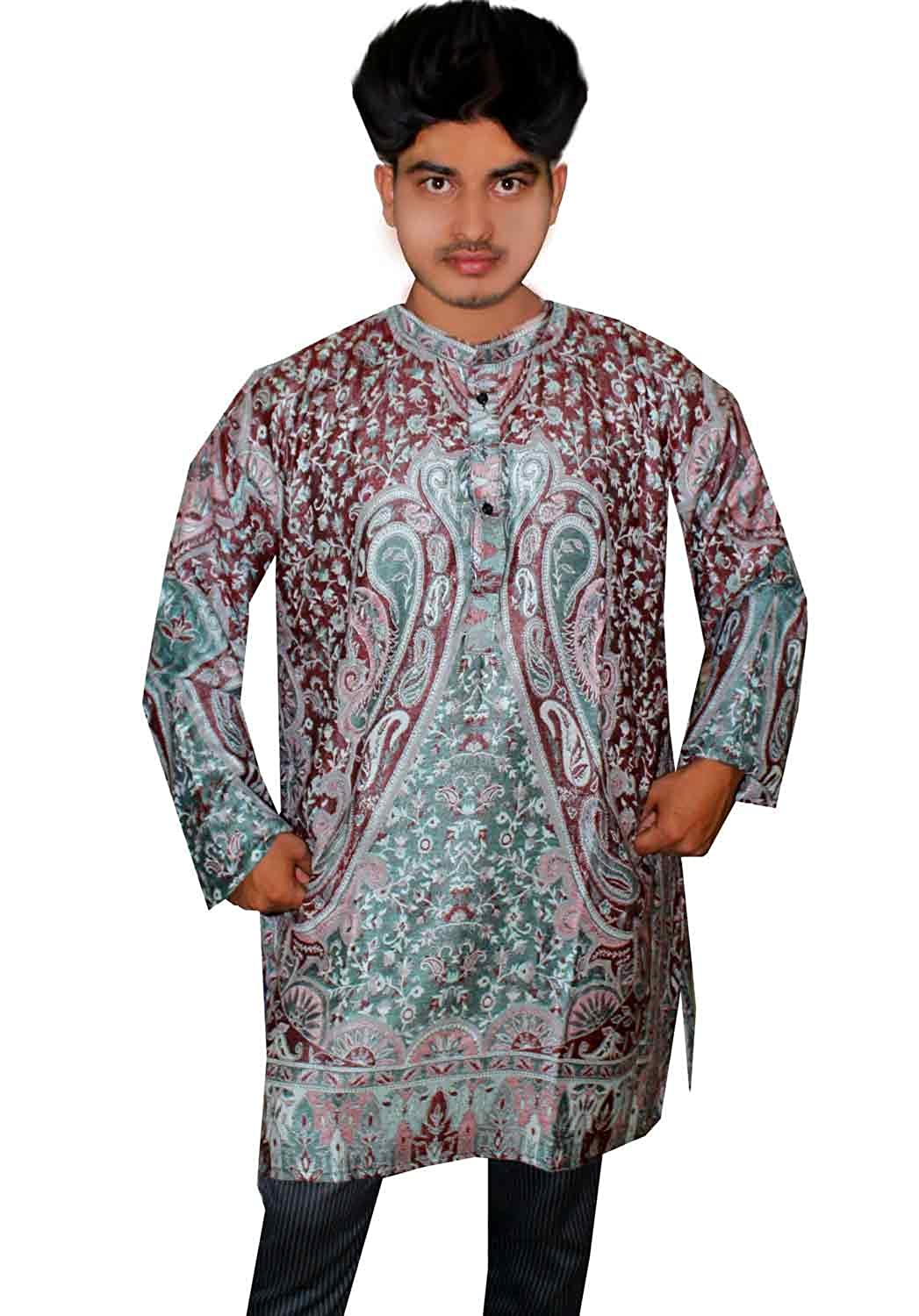 Lakkar Haveli Indian Men/'s Kurta Shirt Loose fit Hand Loom Pashmina Silk Paisley Print Green Color Plus Size