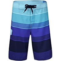 Nonwe Men's Quick Dry Swim Trunks Colorful Stripe Beach Shorts Mesh Lining