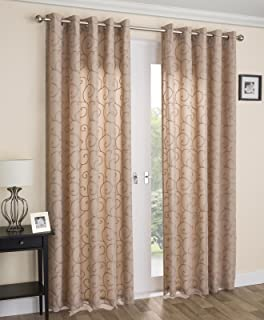 Venice Lined Voile Eyelet Curtains Ringtop Curtain Panels