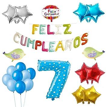 COTIGO-Globos Feliz Cumpleaños Happy Birthday Fiesta Party Docoración para Niños 108 Piezas Globo Látex Azul Color Azul Años 7