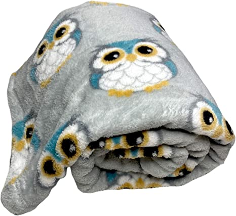 Toysdone Cozy Throw Blanket (Tan with Turquoise Owls)