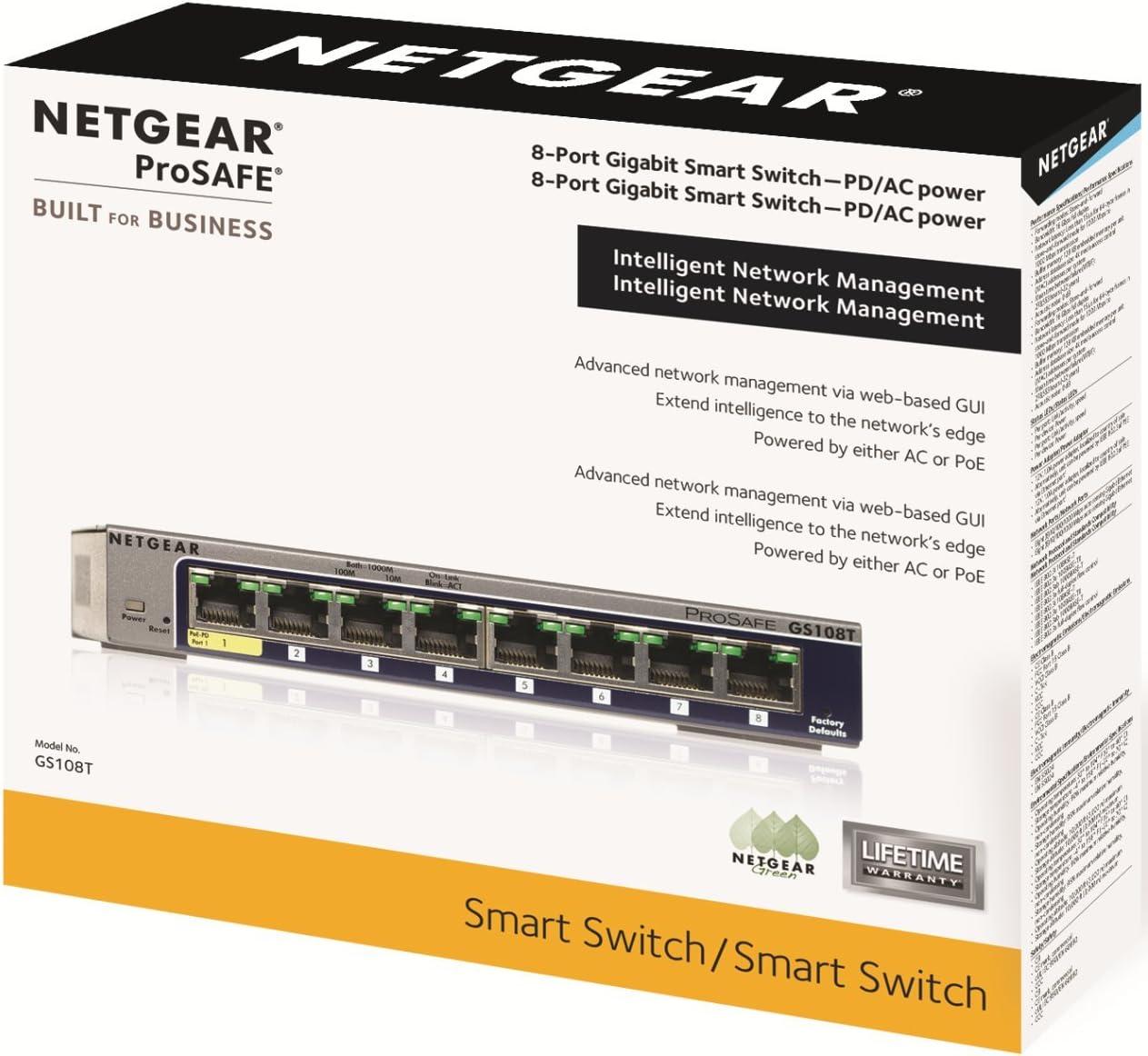 NETGEAR GS108T Prosafe 8-Port Gigabit Smart Switch with 1 port POE