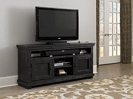 Progressive Furniture Willow 64u0026quot; Media Console, Distressed Black