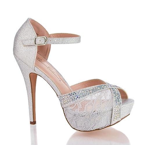 dadf1a79c4782 Rhinestone Studded Peep Toe Platform Ankle Strap Stiletto Heels