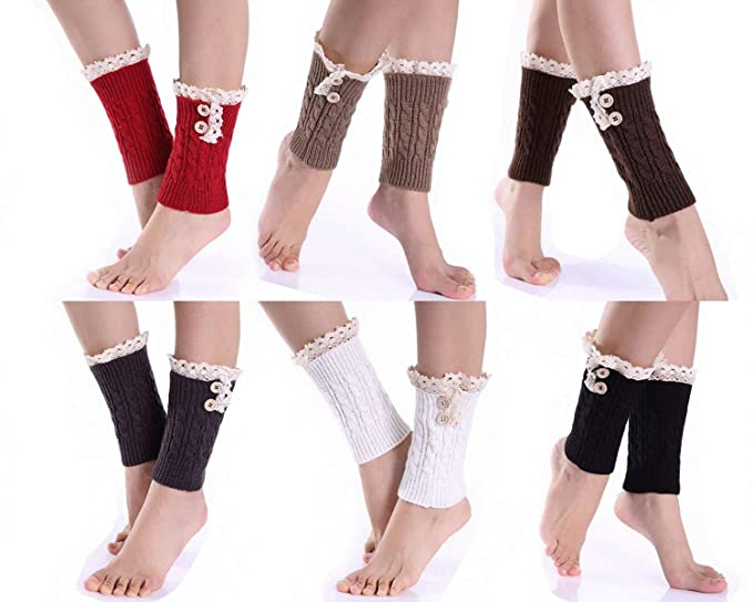 Fashion Crochet Knitted Lace Trim Leg Warmer Short Cuffs Boot Socks Sleeves Soft