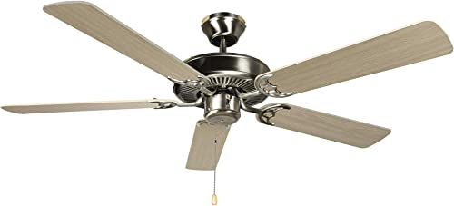 Hyperikon 52 Inch Ceiling Fan No Light, 60W, Remote Control and Pull Chain, Brushed Nickel Body, 5 Blades, Birch