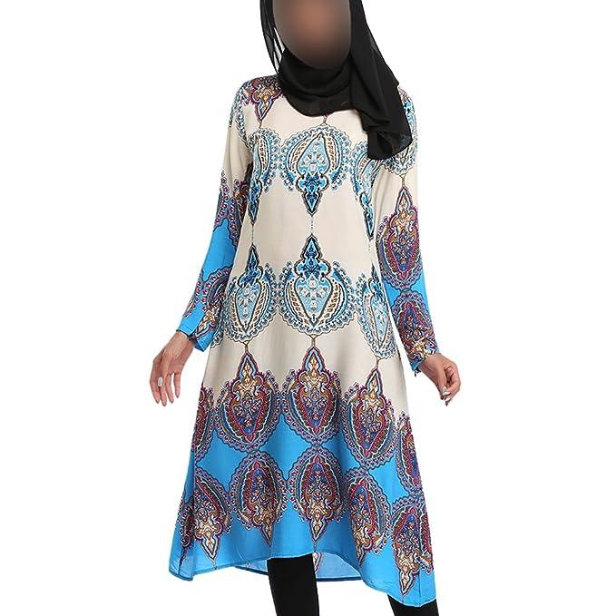 Hzjundasi musulmán Mujer Gradiente Color Impresión Medio Oriente Vestido Dubai Suelto Robe Ropa étnica Iglesia Oración