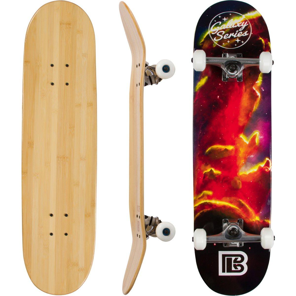 Bamboo Skateboards Complete Skateboard – More Pop, Lighter, Stronger, Lasts Longer Than Most Decks – Includes Deck, Trucks, Wheels, Hardware, ABEC 7 Bearings, Grip Tape, and Bonus Y Tool