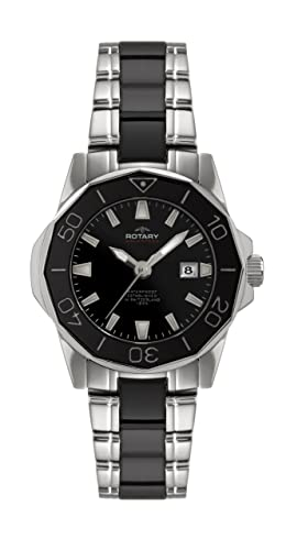 Rotary ALB00030/W/BLK - Reloj analógico de cuarzo para mujer: Amazon.es: Relojes