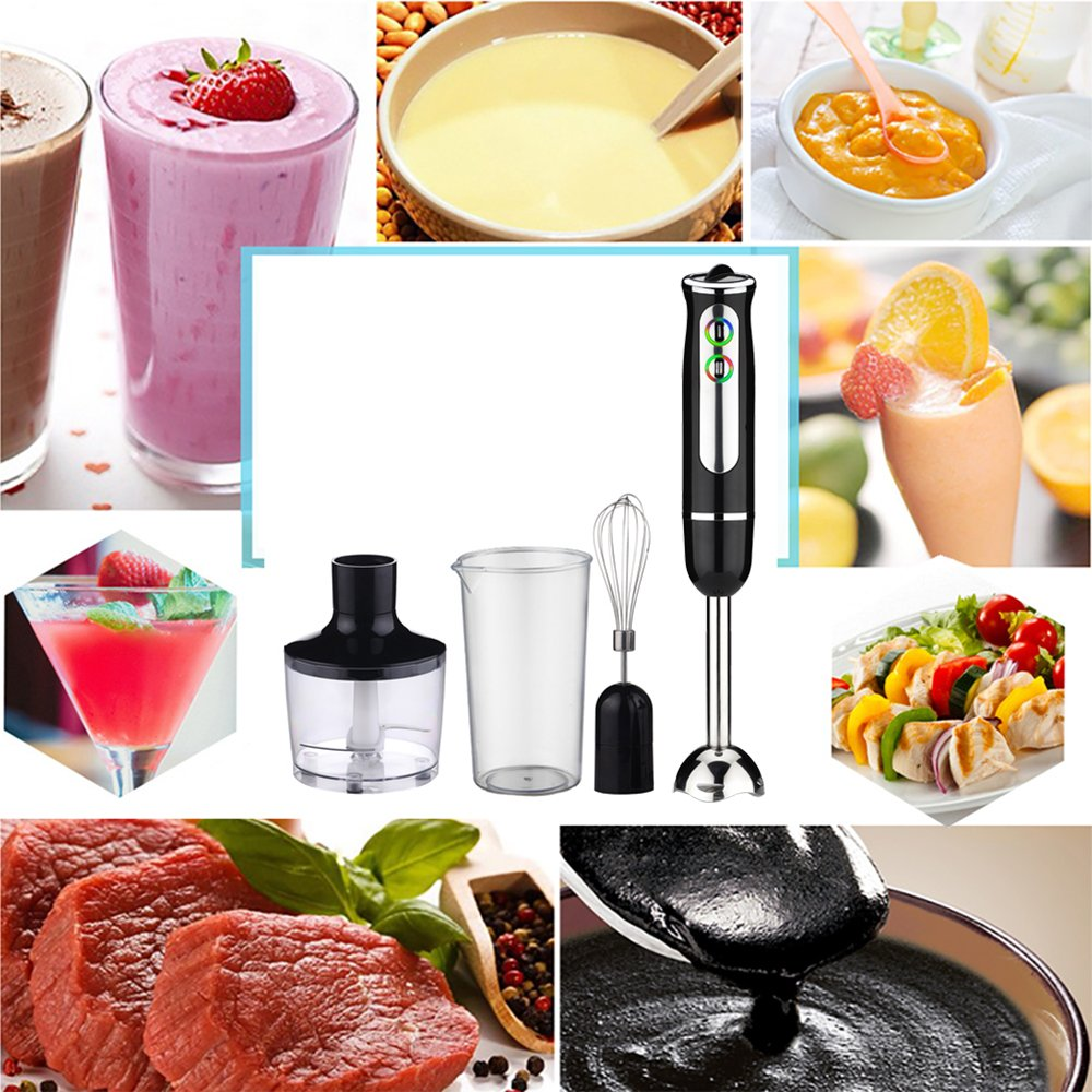 8 Speed Stainless Steel Stick Immersion Blender with 600 ML Breaker,Chopping Bowl Whisk 8 white 1 IREALIST 8 Blen 500W Multi-Purpose Electric Hand Blender