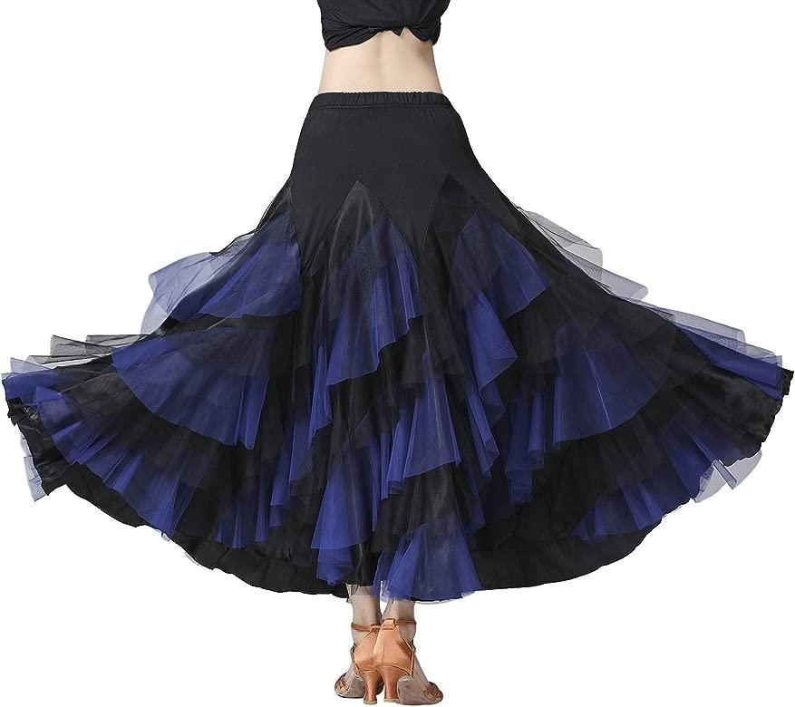 Z&X Falda de Baile de salón de Baile para Mujer, 6 Niveles, Bloque ...