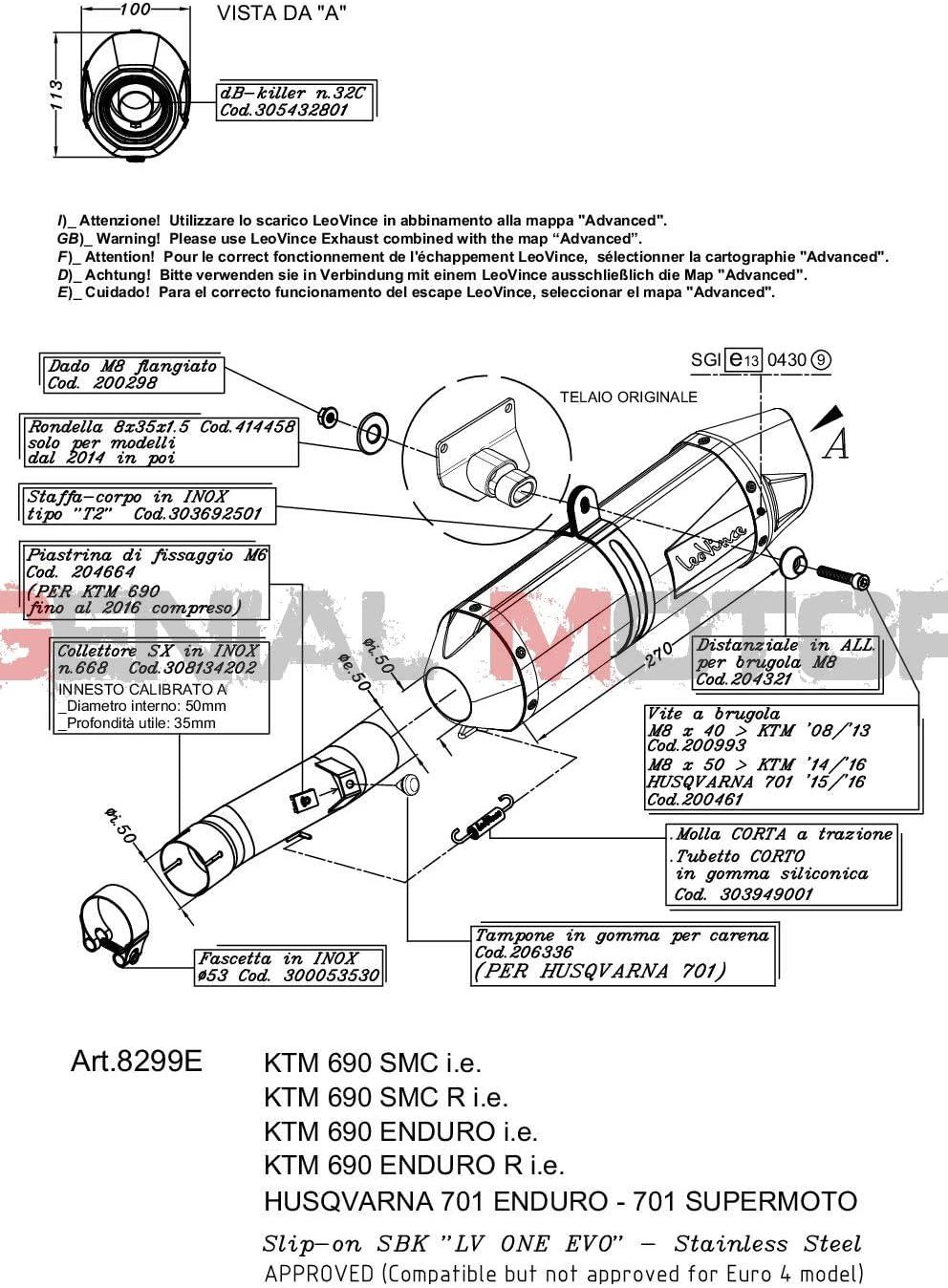 8299E Auspuff Lv One Evo Stahl 701 Supermoto 2017  2019