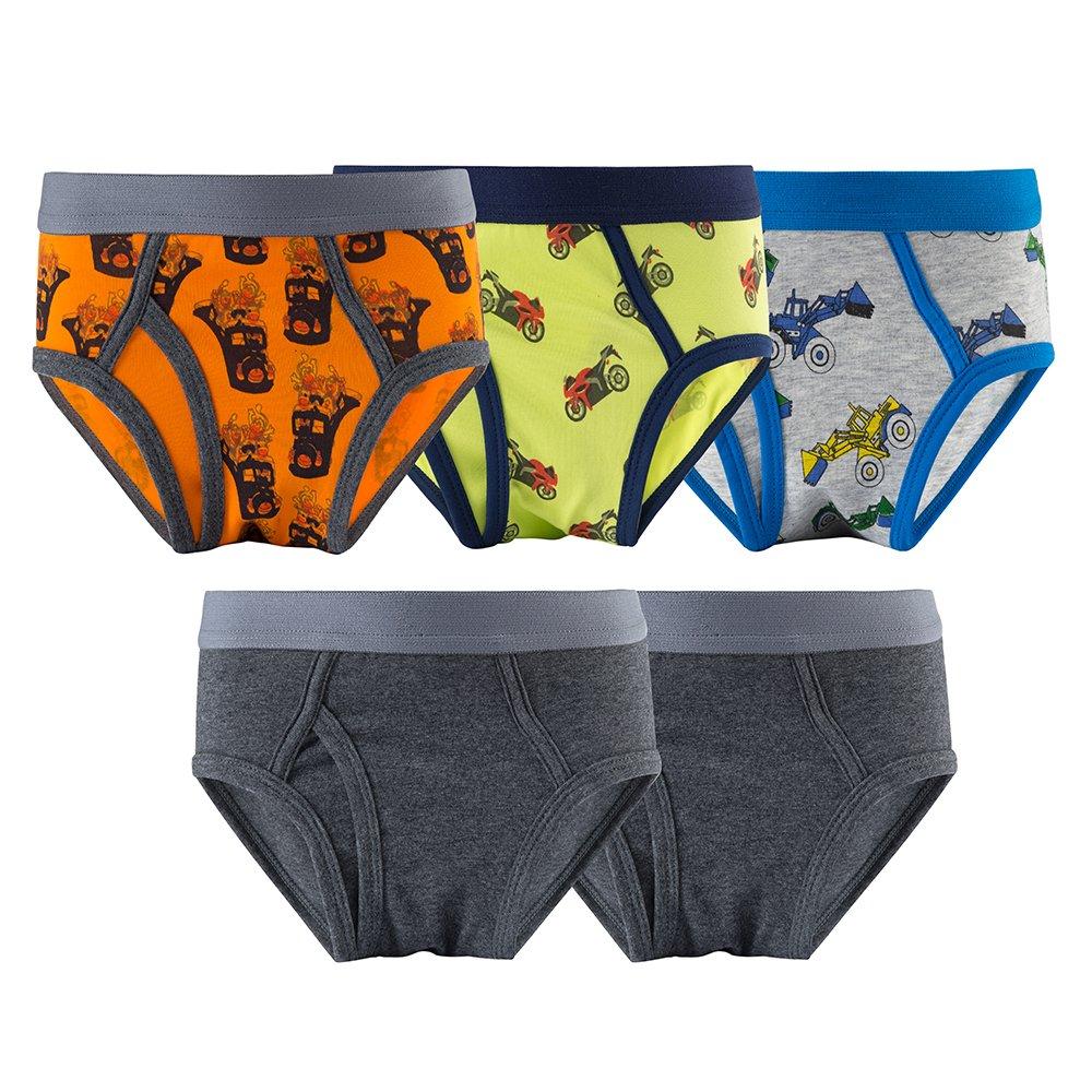 MAMABIBI Kids Cotton Brief Solid Print Cool Toddler Boys Underwear 5 Pack