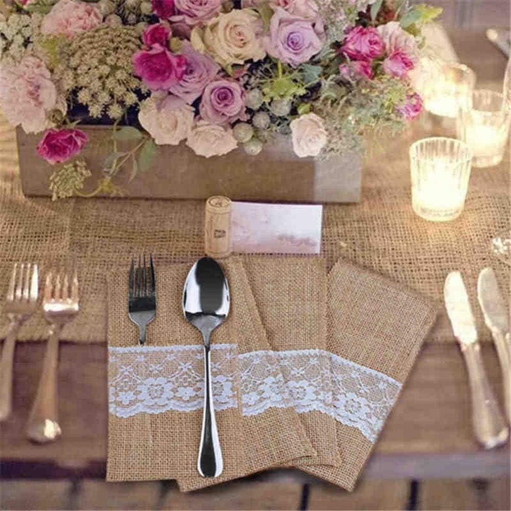 10-teiliges Sackleinen-Besteckhalter Vintage-Jute-Besteck Party Taschenmesser und Gabel-Tasche f/ür Hochzeit PEXWELL Sackleinen-Besteck Dekoration