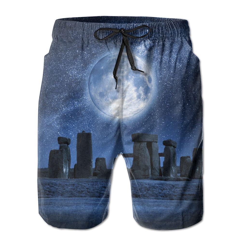NGFF Full Moon Stonehenge Summer Casual Style Adjustable Beach Home Sport Shorts
