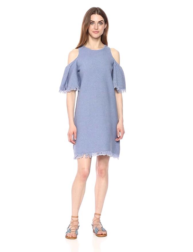 MILLY Women's Denim Knit Fringe Dress, Chambray, L